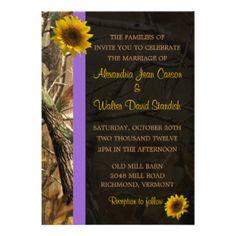 Camo Sunflower Wedding Invitations