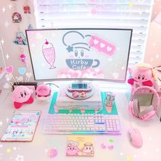 - Working from home today which means I can listen to Kirby Cafe while I work! What your favorite thing to listen to while working? Working from home today which means I can listen to Kirby Cafe while I work! My New Room, My Room, Girl Room, Kawaii Bedroom, Gaming Room Setup, Game Room Design, Cute Room Decor, Gamer Room, Room Goals