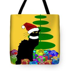 "#Christmas Le Chat Noir With Santa Hat Tote Bag 18"" x 18"" by #Gravityx9   Designs"