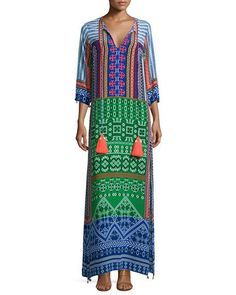Hemant and Nandita Multi-Print Maxi Caftan, Multi Colors Long Kaftan Dress, Silk Kaftan, Fashion Cover, Fashion Tv, Indian Fashion, Fashion Trends, Neiman Marcus, Hippy Fashion, Big Blonde Hair