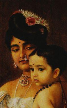 Mother and child - Raja Ravi Varma (1848 - 1906) Detail