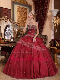 26f1a258bcf Wine Red Ball Gown Strapless Floor-length Taffeta and Tulle Appliques Quinceanera  Dress