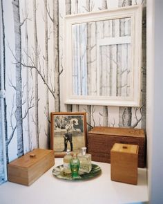 Faux Bois - Why not bring a little bit of Narnia into your powder room with this cult classic? Bathroom Vanity Decor, Tree Wallpaper Bedroom, Wallpaper Bedroom, Decor, Wallpaper, Tree Trunk Wallpaper, Vanity Decor, Home Decor, Room Wallpaper Designs