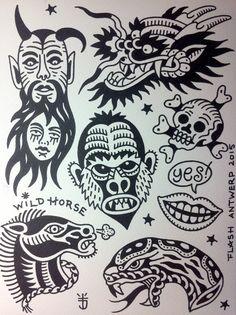 Tattoojoris flash monkey devil horse snake skull