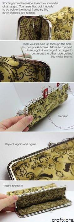 How to Sew a Coin Purse - Lined construction with a Snap Clasp Frame