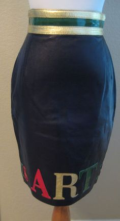Vintage Moschino leather skirt Art Is Love circa 1990