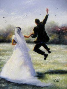 Leap of Love Art Print bride and groom by VickieWadeFineArt, $26.00