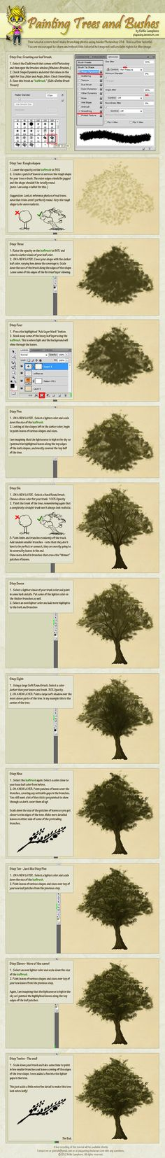 How to Digitally Paint Trees and Bushes Tutorial by *Plaguedog on deviantART