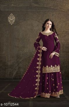 Checkout this latest Suits Product Name: *Super model violet Rangoli georgette satin Palazo style Suit* Top Fabric: Georgette + Top Length: 0-2.00 Bottom Fabric: Georgette + Bottom Length: 2.25 Meters Dupatta Fabric: Georgette + Dupatta Length: 2.1 Meters Lining Fabric: Shantoon Type: Un Stitched Pattern: Embroidered Multipack: Single Country of Origin: India Easy Returns Available In Case Of Any Issue   Catalog Rating: ★4 (312)  Catalog Name: Aishani Voguish Semi-Stitched Suits CatalogID_1968250 C74-SC1522 Code: 1741-10712544-8124