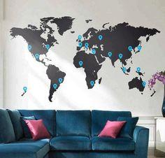 """Adesivo de parede """"Mapa Mundi"""" onde você pode marcar quais lugares do mundo já visitou!"""