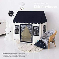 Kids Play House Tent, [Petite Maison] Hand Made Premium Quality Playhouse for Indoor & Outdoor, Light, Easy Assembly - Navy Blue Cardboard Cat House, Cardboard Playhouse, Build A Playhouse, Cardboard Fireplace, Cardboard Toys, Cardboard Furniture, Inside Playhouse, Kids Indoor Playhouse, Kids Tents
