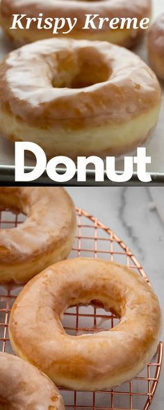 This Krispy Kreme donut recipe tastes just like the original! You'll be amazed at how simple it is to put together this dough to create an airy donut that's topped with a light glaze. #dessert #individualdesserts Donut Recipes, Pastry Recipes, Brunch Recipes, Breakfast Recipes, Dessert Recipes, Copycat Recipes, Drink Recipes, Savory Breakfast, Breakfast Items