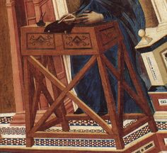 A monk's writing desk as painted by Giotto in the Vault of the Doctors of the Church   Upper Basilica of San Fancesco, Assisi. Early 14th century.