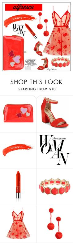 """""""Red dining"""" by anne-977 ❤ liked on Polyvore featuring Ted Baker, Sam Edelman, Topshop, Sarah Jessica Parker, Clinique, Magdalena, Liz Claiborne, Alex Perry, Madewell and alfrescodining"""