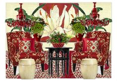 The Red Room Olioboard by cre8 features CR Laine's McGee chairs in fabric: Picasso Flame