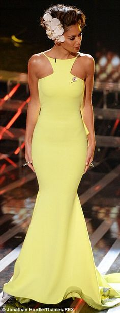 Nicole Scherzinger  in a Michael Costello Yellow Mermaid Gown