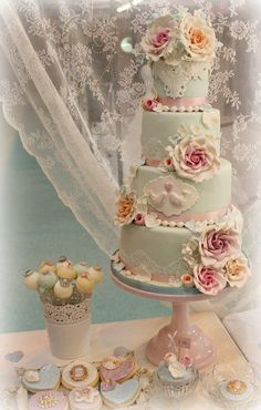 Duck egg blue 4 tier wedding cake