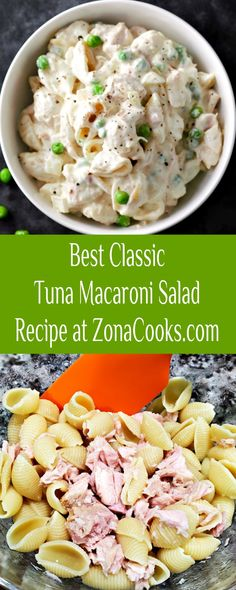 This Classic Tuna Macaroni Salad Recipe is easy, delicious, and quick, ready in just 15 minutes. Perfectly cooked pasta or macaroni is tossed with albacore chunk white tuna, sweet onion, peas, and a creamy mayo and sour cream dressing. This small batch recipe makes a great side dish or main dish. Throw it in your summer picnic basket for two or serve it at your next intimate barbecue. #TunaMacaroniSalad #TunaSalad #PastaSalad #SideDishForTwo #SmallBatch #tuna Tuna Macaroni Salad, Tuna Salad, Pasta Salad, Main Dishes, Side Dishes, Good Food, Yummy Food, Cooking For One, Summer Picnic
