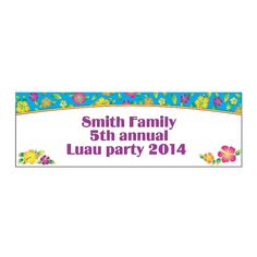 Personalized Island Hibiscus Banner - Small - OrientalTrading.com
