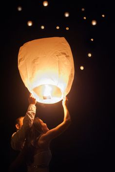 Wish lanterns for an outdoor wedding reception {So Eventful wedding & events}