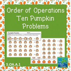 This product includes ten order of operation problems. The first problem was completed as an example.   In order to make the equations true, students will insert the four operations between the pumpkins.  The students may also use parentheses, exponents and square roots. The last question has the students create their own order of operation pumpkin problem.