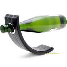 Gravity Leather Wine Bottle Holder in Black