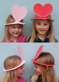 Valentines Day paper plate hats
