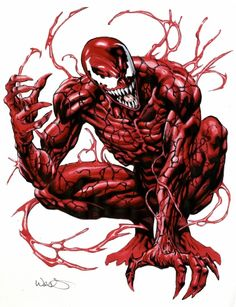 Carnage, in Kevin West's Marvel Comic Art Gallery Room Venom Comics, Thanos Marvel, Marvel Fan Art, Marvel Comics Art, Marvel Villains, Marvel Heroes, Marvel Comic Character, Marvel Characters, Symbiotes Marvel