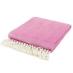 // bamboo herringbone throw in fuchsia/cream - Nine Space, on sale for $81...still too rich for my blood, but maybe a good price for one of you lovelies!