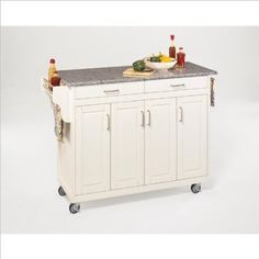 Amazon.com: Home Styles 9200-1023 Create-a-Cart 9200 Series Cabinet Kitchen Cart with Gray Granite Top, White Finish: Home & Kitchen