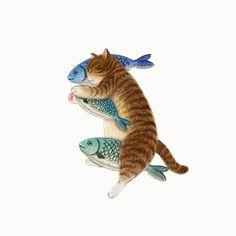 56 Super ideas for funny face cartoon people I Love Cats, Crazy Cats, Cute Cats, Illustration Mignonne, Art Et Illustration, Animals Watercolor, Art Mignon, Cat Wallpaper, Cat Drawing
