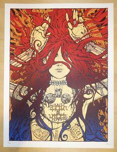 """Faith No More w/ Gogol Bordello - silkscreen concert poster (click image for more detail) Artist: Malleus Venue: Red Rocks Amphitheatre Location: Morrison, CO Concert Date: 9/8/2015 Size: 18"""" x 24"""" Ed"""