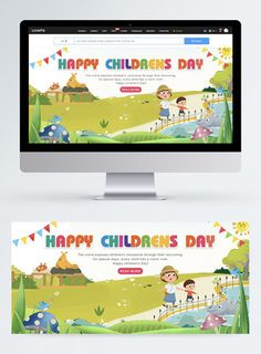 Cartoon children's Day web banner happy childrens day,children,happy,celebrate,discount,child,colourful,colorful flag,cartoon,grassland,web banner#Lovepik#template