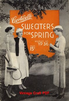 Hand-Knit Sweaters for Spring, Corticelli Pattern Book No.YP36, PDF