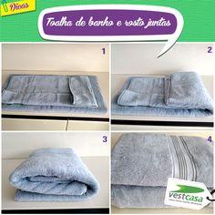 Se você também prefere guardar suas toalhas de forma organizada, aí vai uma dica. Toalhas de banho que possuem toalha de rosto igual devem ser guardadas juntas formando conjuntos. A vantagem é que usando as duas juntas, evita que uma fique mais velha do que a outra.