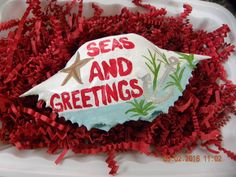Seas and Greetings painted crab shell by Karenscrabs on Etsy