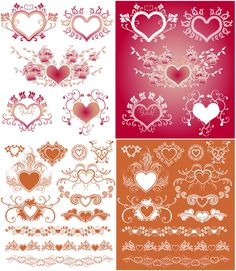 Hearts with floral ornaments vector free for download and ready for print. Over 10,000+ graphic resources on vectorpicfree.
