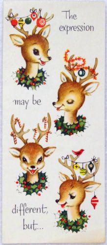 #535 50s Sweet Deer w/ Ornaments-Vintage Christmas Greeting Card