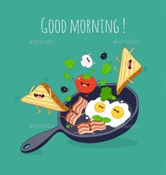 Vector by serbina Funny breakfast set. Cute Good Morning Quotes, Good Morning Coffee, Good Morning Picture, Good Morning Messages, Good Morning Good Night, Morning Wish, Funny Breakfast, Breakfast Set, Breakfast Quotes Morning