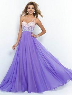 A-line Princess One-shoulder Sleeveless Crystal Sweep Brush Train Chiffon  Dresses. Abiti Da Ballo ... 726f350fe7c