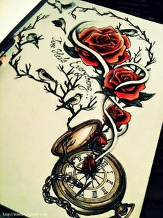 "UNDER rose tattoo with other compass tattoo three birds. words say ""to live would be an awefully big adventure"" chain links to other chain  with pocket watch ""have I gone mad..."""