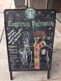This makes me happy in every way possible: espresso, HP, frappy hour, puns... Just couldnt get better