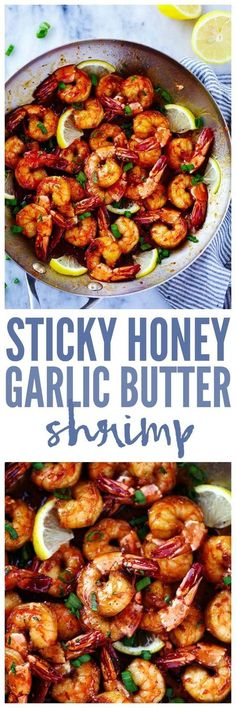Sticky Honey Garlic Butter Shrimp are coated in the most amazing sticky honey garlic butter soy sauce. This is a quick 20 minute meal that you will make again and again!