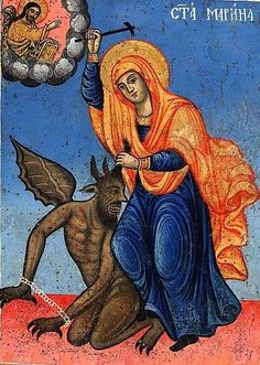 She shall crush the serpent Religious Images, Religious Icons, Religious Art, Catholic Bible, Stained Glass Angel, Bible Illustrations, Art Populaire, St Margaret, Byzantine Icons