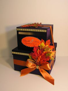 2 tier Purple and Orange Fall Wedding Card Box,Fall Gift Card Box Money Card Box Holder-customize your color