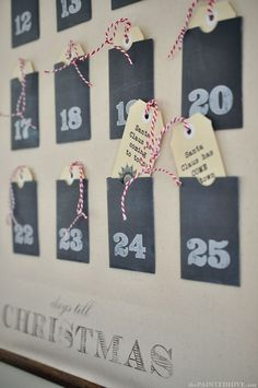 Christmas Advent Calendar Wall Chart (with free printable pockets & tags!) | The Painted Hive