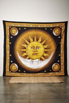 Light and dark. Day and night. The sun and moon are two opposing objects in our solar system necessary for Earth. This tapestry is screen printed by hand in India to preserve the intricate details and ensure vibrancy. Hang it on a wall or throw it on a couch or bed for a quick way to add color to your space.