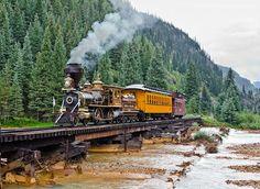USA Eureka and Palisade, Animas Timber Bridge, Silverton, Colorado, Steam 4-4-0