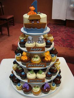 Adorable! Noah's Ark Cupcake Tower
