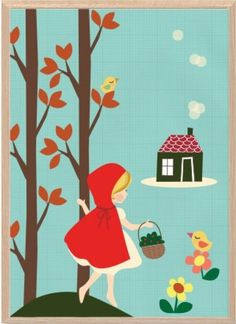 Red Riding Hood by SealDesignStudio Canvas Paintings For Sale, Playroom Art, Fable, Seal Design, Heart For Kids, Australian Artists, Retro Art, Red Riding Hood, Wall Art Decor